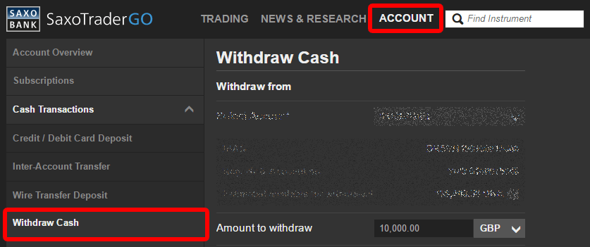 SaxoTraderGo Withdraw Cash